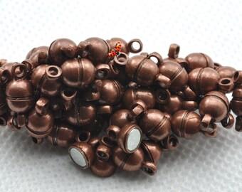 Antiqued copper Magnetic Clasp 5x11mm,20 Set