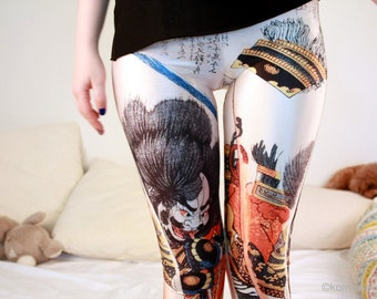 JAPANESE SAMURAI LEGGINGS/ Fitness Leggings Sexy Funky Yoga Pants Bottoms/Stretchy Leggings/Suspender Leggings Sports Pants Tights dx 147