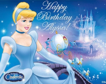 Disney Princess Cinderella Edible Icing Sheet Cake Decor Topper