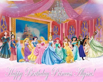 Disney Princess Royal Ball Edible Icing Sheet Cake Decor Topper featuring all the Disney Princesses - DP3