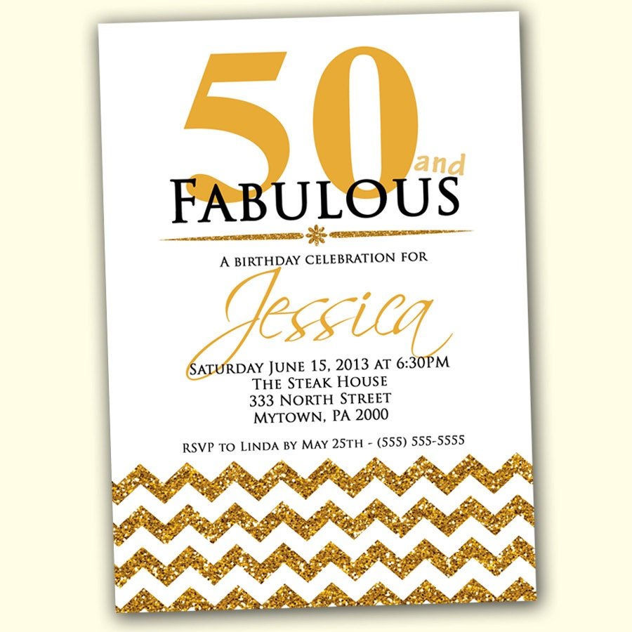 50 And Fabulous Text: 50th Birthday Invitation Fifty And Fabulous Gold By