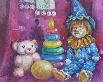 My Favorite Toys -  Art Oil Still Life Painting