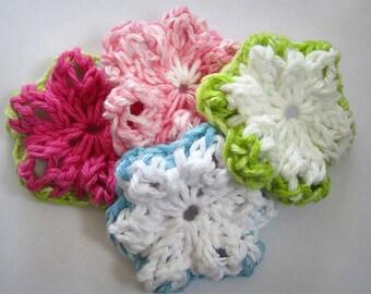 KNITTING PATTERN PDF - Knit Flower Pattern -Summer Flower - Colourful Flower - Green-Pink-Blue