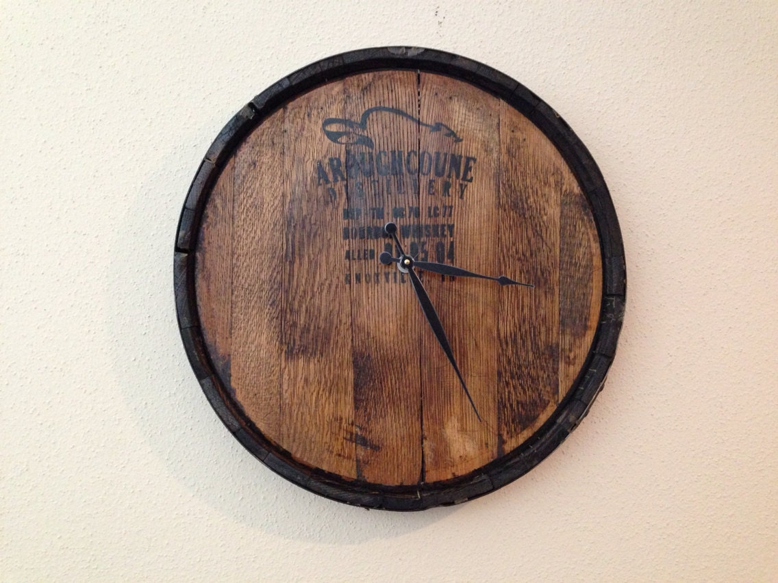 Bourbon Whiskey Barrel Reclaimed Wood Wall Clock Made To