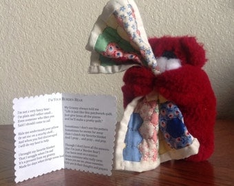 Handcrafted Burden Bear- Little Plush Bear with Poem and Tiny Quilt
