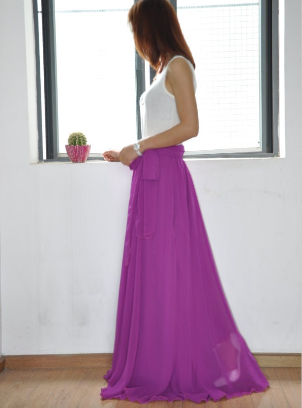 high waist maxi skirt chiffon silk skirts beautiful bow tie