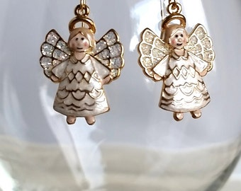 Dangle Earrings with Enameled Angel Charms  #127J