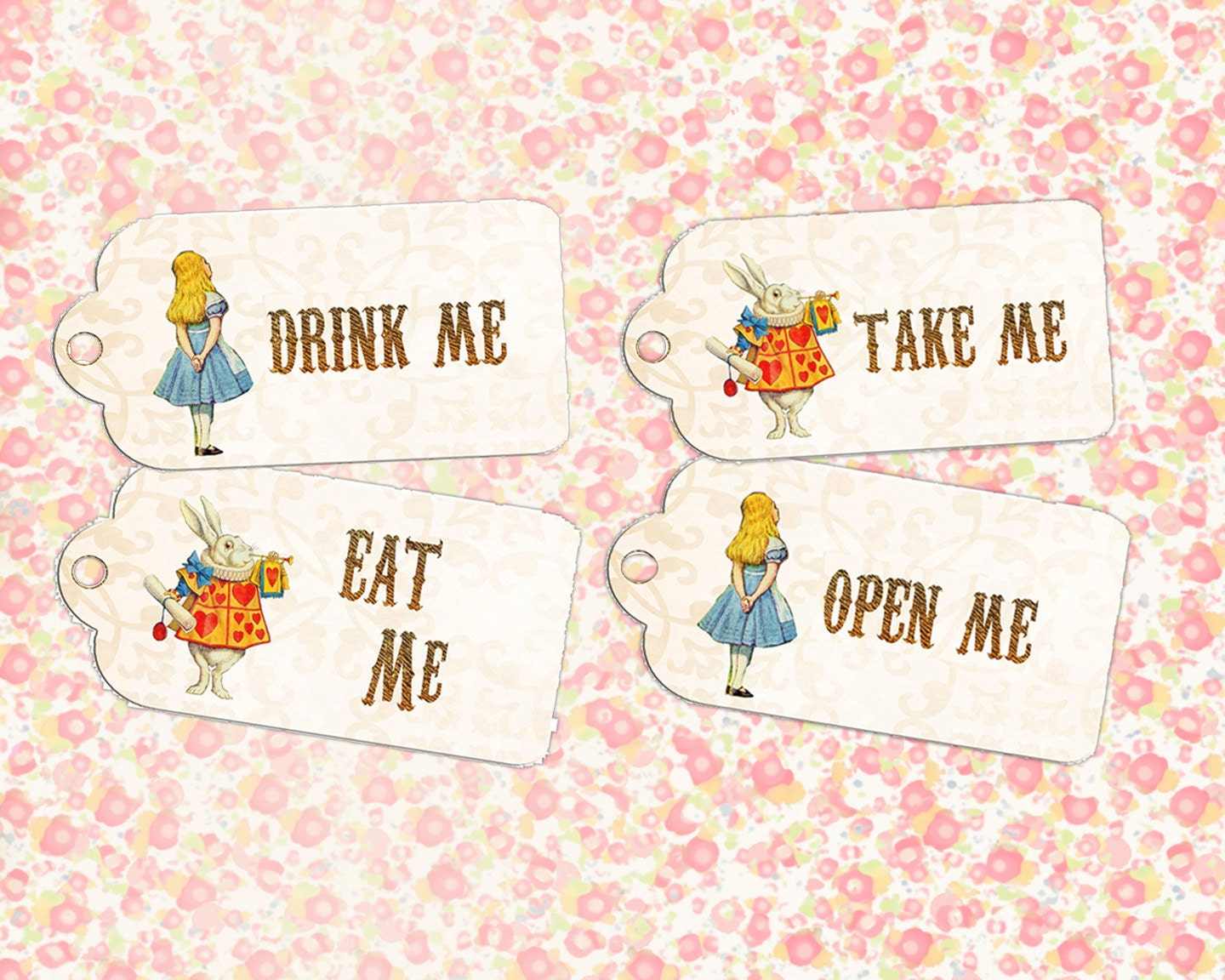 Alice in wonderland eat me drink me tags 2 x4 gift hang for Alice in wonderland tags template