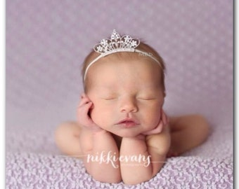 Newborn Tiara Crown Newborn Rhinestone Crown Newborn Photo Prop Princess Newborn Headband