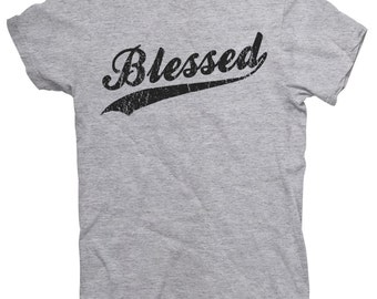 Distressed Blessed Christian T Shirt