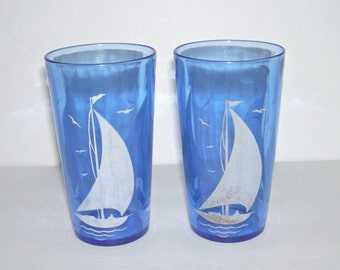 2 Hazel Atlas Cobalt Blue Ships Water Tea Glass Tumblers