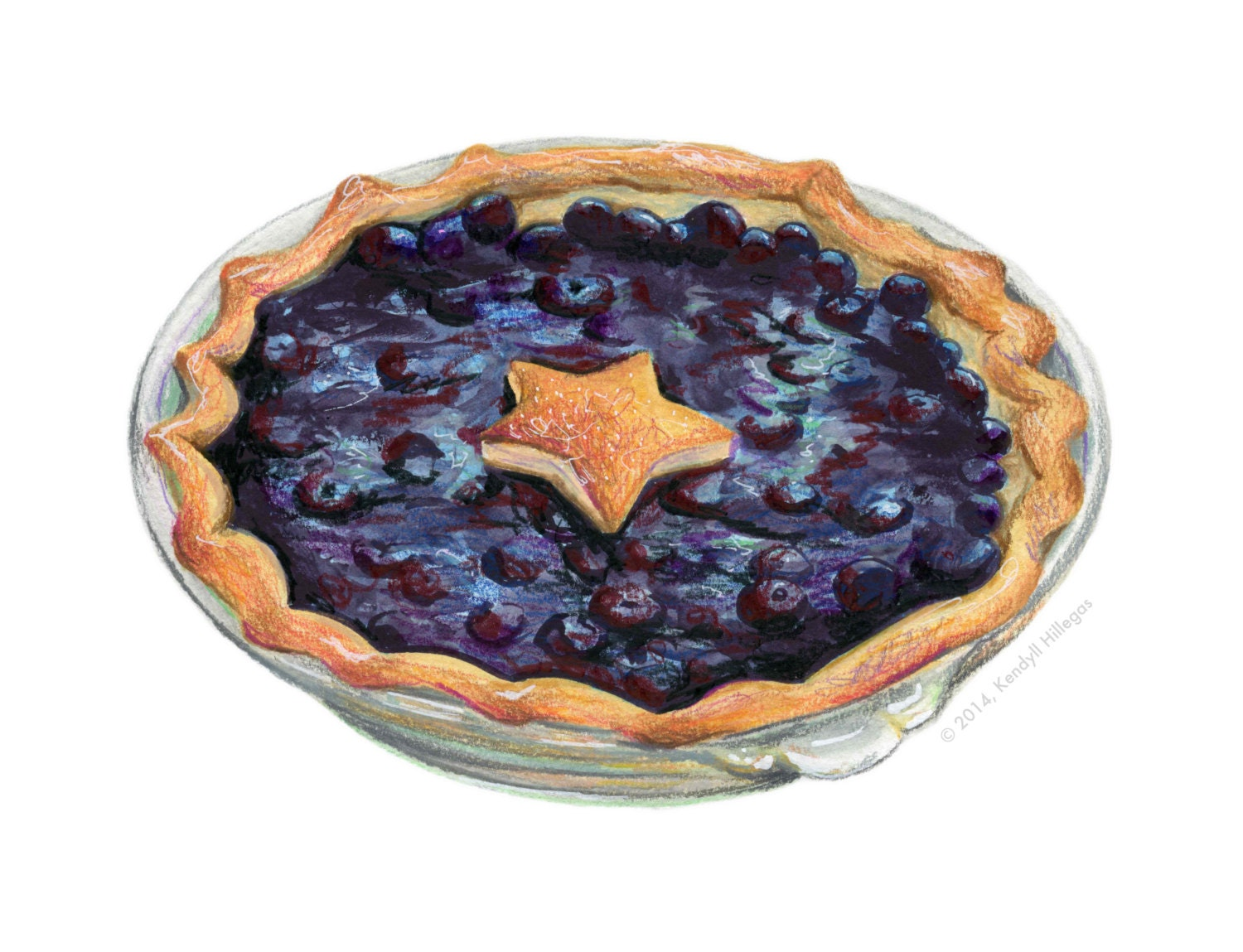Pie with Blueberries // Food Illustration // by ...