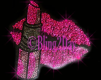 Lip Stick - Hot Pink Lips - Iron on Rhinestone Transfer Bling Hot Fix Stylist - DIY