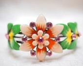 Stylish Clamper Bracelet- Enamel Pink Peach Flower Rhinestone + Earring Bonus- Vintage, Gold tone - Fun Birthday, Sweetheart Holiday Gift