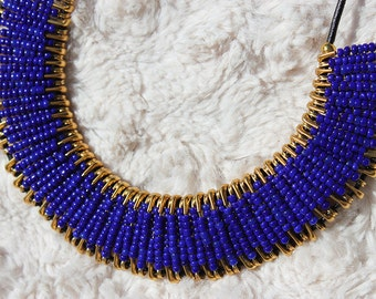 Royal Blue and Gold Safety Pin Necklace