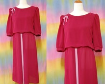 70s Vintage Maroon Dress Mid Length Light Weight Puff Sleeve Sheer Pleated Ribbon Vtg 1970s Retro L