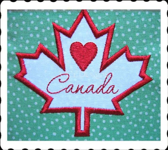 Maple leaf canada applique machine embroidery by ccedesigns