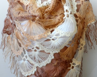 ON SALE Low Price High Quality Handmade Crocheted Shawls in camel cream Bridal shawl camel Wedding WRAPS Mothers day gifts Valentines day
