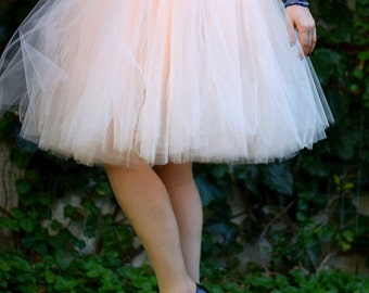 SHORT PEACH TUTU skirt - Tea lenght Blush tulle skirt woman- 8 layers sewn tutu - Custom - Adult tutu skirt - Girl tulle skirt - Flower girl