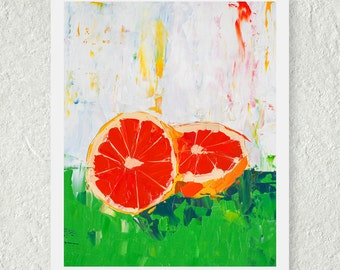 Grapefruit Print - Fruit Print - Original Oil Painting - Art for the Kitchen - Still Life Painting - Cute Kitchen Print - Fine Art Print