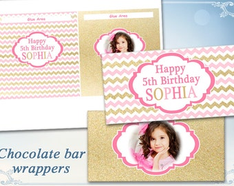 Pink Gold Chocolate bar wrappers for Birthday decor Wedding decor on Printable sheet Chevron wrappers Photo wrappers