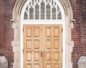 Church Door Photograph, Travel Photography, Toronto Photography, Large Wall Art Street Photography, Red Brick Wall Brown White Gray Toronto