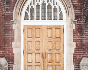 Church Door Photograph, Travel Photography, Toronto Photography, Large Wall Art Street Photography, Red Brick Wall Brown White Gray Toronto