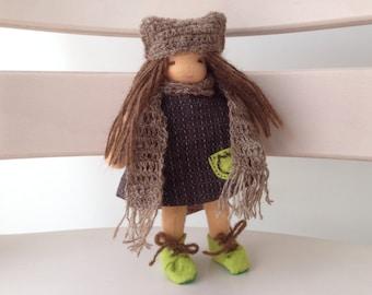 Ready to go 6.7 inch (17cm) Handmade Waldorfdoll 17cm手作りウォルドルフ人形