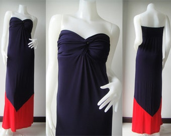 Color block Navy Blue red  Strapless sun beach Long maxi dress all size