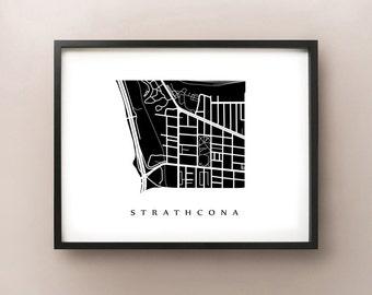 Strathcona Map - Hamilton Neighbourhood Art Print