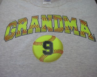 Softball Grandma Shirt/ Softball Shirt/ Custom Personalized Softball Grandma T-Shirt/ Add Player's Number Up To 4 Balls/ Lots of Colors!