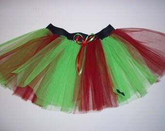 Red Green Stripe Tutu Skirt For Dance Party Ruffled Tulle Skirt adult christmas
