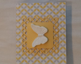 Yellow and Grey Clay Butterfly Lace Greeting Card Set of 6
