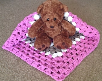 Extra thick crocheted baby girl blanket