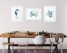 Sea Art Prints - Watercolor Painting - 8x10 Set of 3 - Seahorse, Crab, Sea Turtle - Minimalist Art - Blue Wall Decor, Home Decor, Gifts