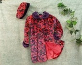 Coat Girls  Size 6X with Hot Pink and Purple Pile fabric fully lined, Plush Retro Style Hipster Girls Coat, Coat & Hat,Floral, Vintage