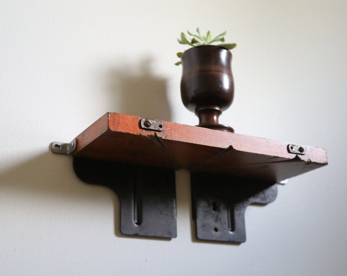 Wall Shelf with Original Mitre Box Red Paint Color / Upcycled Decor / Succulent Plant Display / Floating Rustic Industrial Modern Shelving