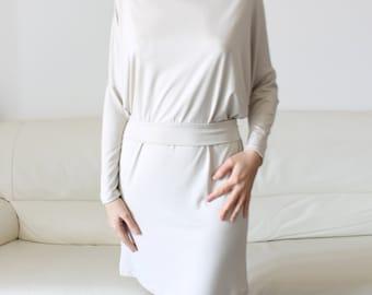 Cream white jersey dress,belted dress, long sleeve loose fitting dress