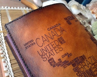 World Map Passport Holder Cover / Deluxe Italian Leather / Engraved & Hand Dyed / Suede Lining / Personalized