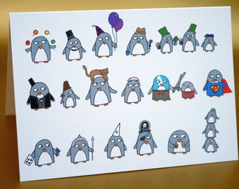 Penguin Birthday Card -funny penguins dress up -  Birthday card