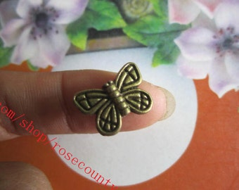 wholesale 100pcs Antiqued bronze butterfly  spacer beads findings