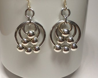 Silvery Beaded Chain Maille Earrings