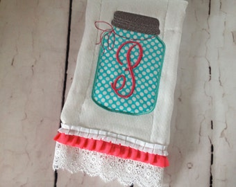 Monogrammed Ruffle and lace Mason Jar Burp Cloth