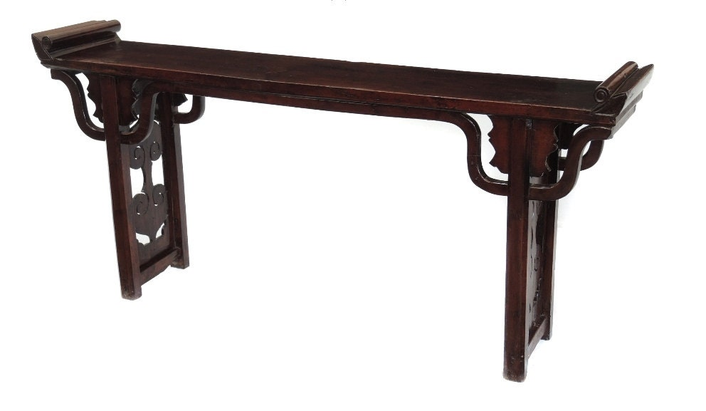 Hand carved antique walnut console table by terra