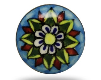 Colorful Mahal Ceramic Knob, Round Decorative Furniture Accent, Vintage Kitchen Cabinet Knob, Dresser Drawer Pull and Cupboard Handle