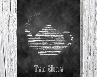 Tea Time Print, Kitchen Art, Tea Pot Print, Kitchen Wall Decor, Kitchen Wall Art, Tea Poster, Modern Tea Print, Wall Art Kitchen