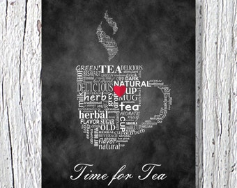 "Kitchen Art Typographic Print 11"" x 14"",Chalkboard Art, Kitchen Wall Decor, Kitchen Wall Art, Kitchen Poster Print,Time For Tea, Chalk Art"