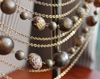 Vintage Multi Strand Necklace - Browns and Gold Beaded