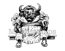 Animal stamp / Pretty buffalo girl rubber stamp / Unmounted rubber stamp (130902)