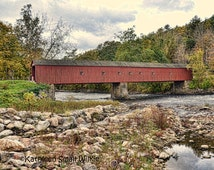 Cornwall Covered Bridge,old covered bridge,rustic old bridge,landscape photo,Cornwall CT,New England bridge,Etsy find,wall art,trending